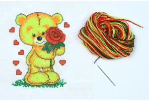 Набор для вышивки нитками, A5-002, Мишка c розой