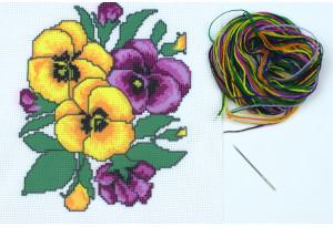 Набор для вышивки нитками, A5-028, Анютины глазки