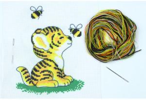 Набор для вышивки нитками, A5-064, Тигренок с пчелами