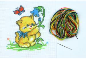 Набор для вышивки нитками, A5-093, Котенок