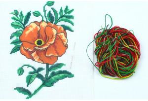 Набор для вышивки нитками, A5-023, Мак