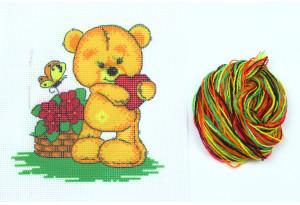 Набор для вышивки нитками, A5-027, Мишка с сердечком