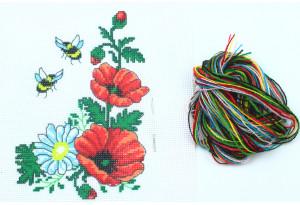 Набор для вышивки нитками, A5-012, Маки c пчелами