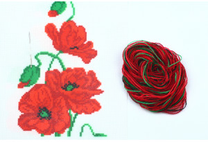 Набор для вышивки нитками, A5-024, Маки